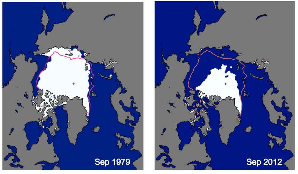 Maps showing changes in the sea ice levels in Greenland in 2012.