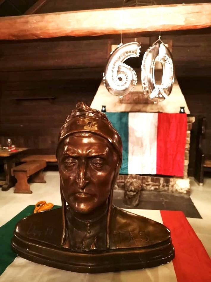 A bust of the poet on display during the party celebrating the 60th anniversary of the Bergen branch of the Dante Alighieri Society.