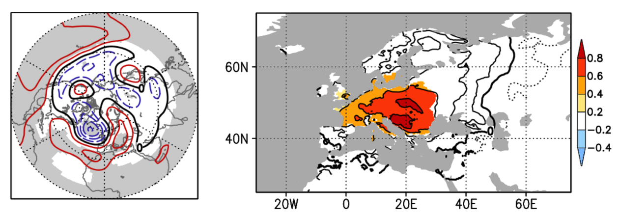The relationship between El Niño-related temperature patterns in the Pacific and weather in Europe in November