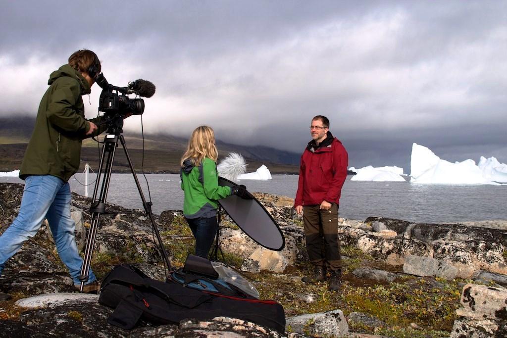 Kerim being filmed on Greenland