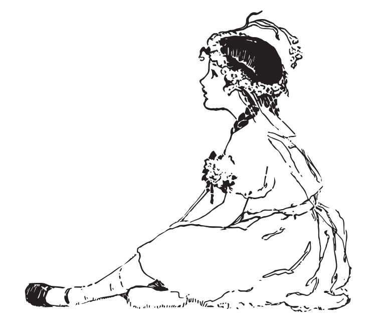 Drawing in black and white of a girl who sits thoughtfull at the ground.