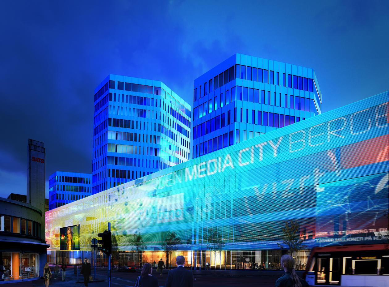 Media City Bergen at night