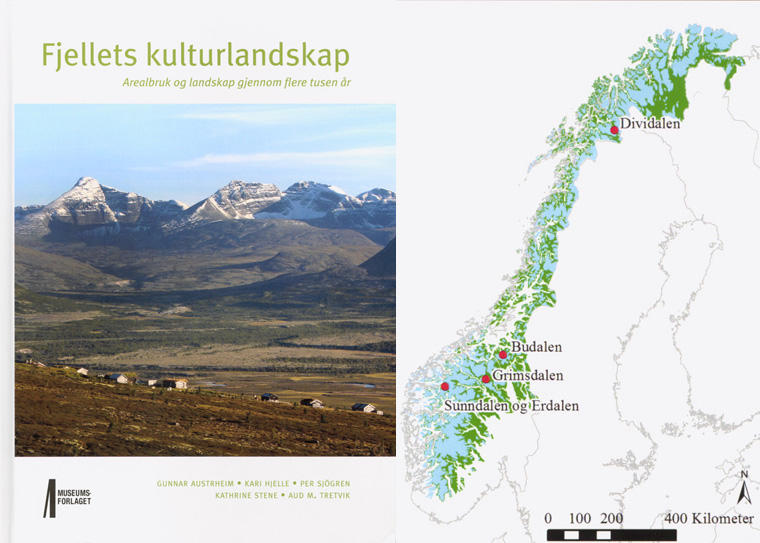 The cover of the book Fjellets kulturlandskap and a map of Norway showing the four sites investigated