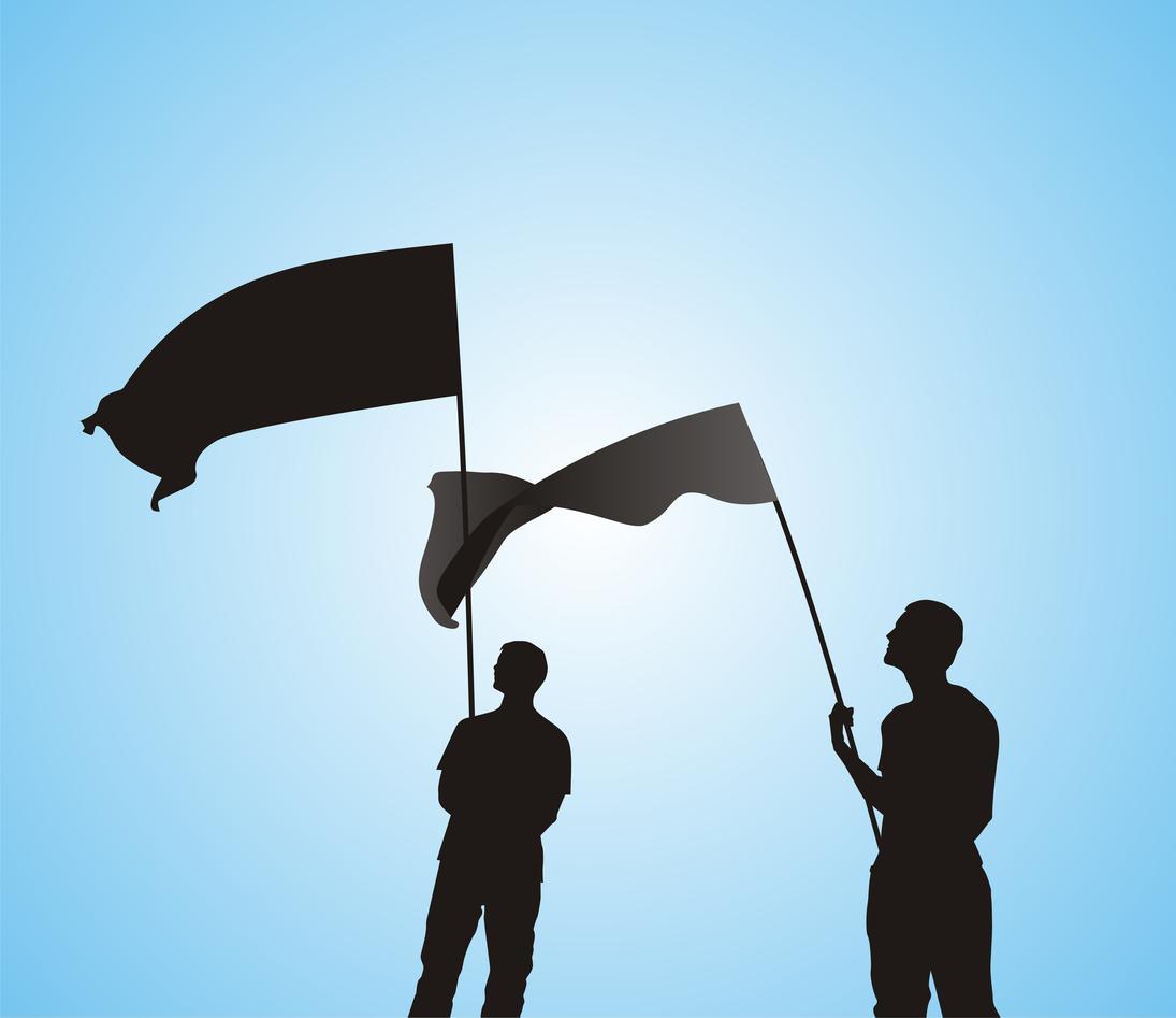 Et bilde av to menn som holder flagg. Bildet skal symbolisere nasjoner.