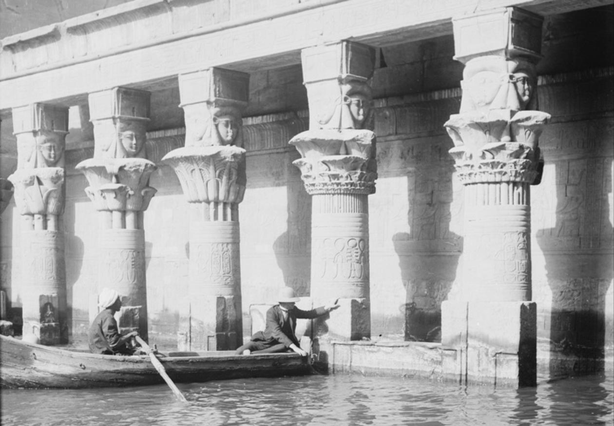Flooded Temple of Isis, Philae, Egypt. 1900-1920
