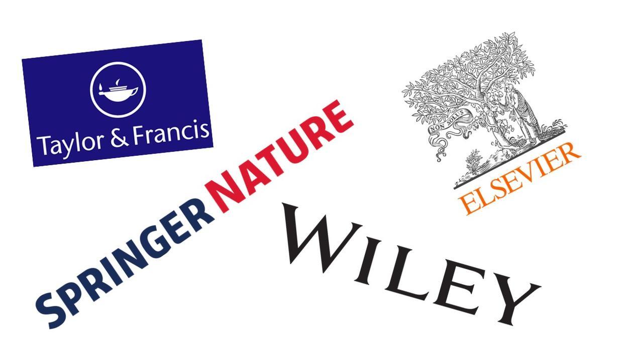 logoene til selskapene Elsevier, SpringerNature, Wiley og Taylor & Francis