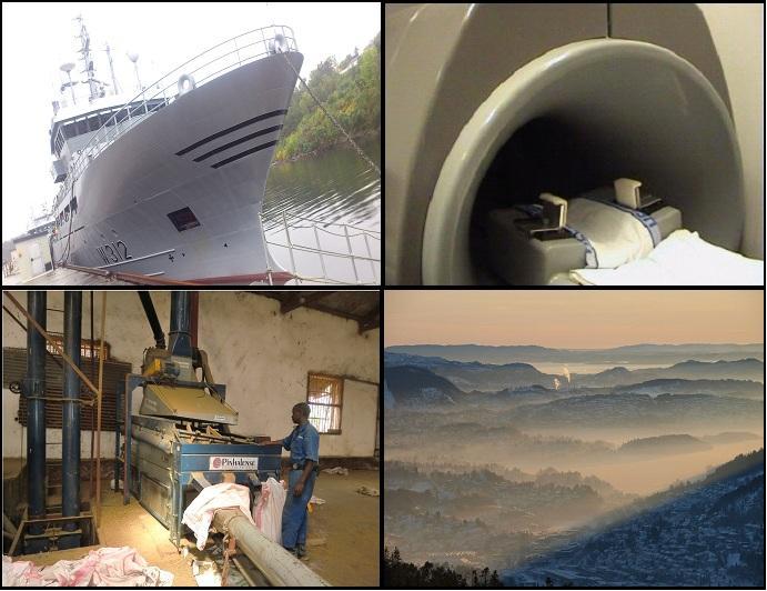 Bilde av militært fartøy, mr-maskin, industri i Afrika og forurensing over Bergen