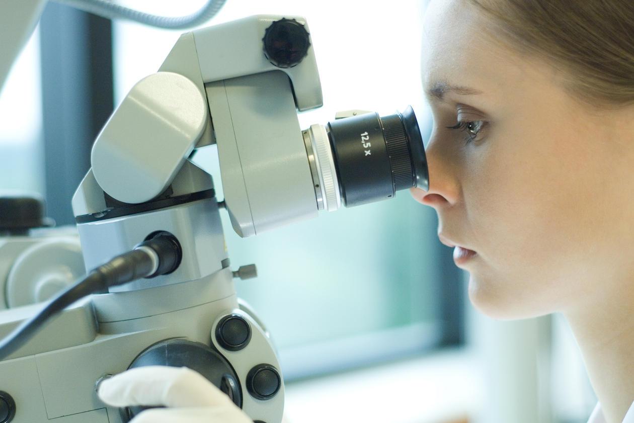 Forsker ser i mikroskop