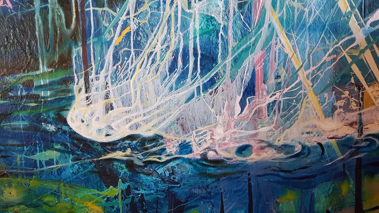 Maleri i sterke farger om geologiske prosesser