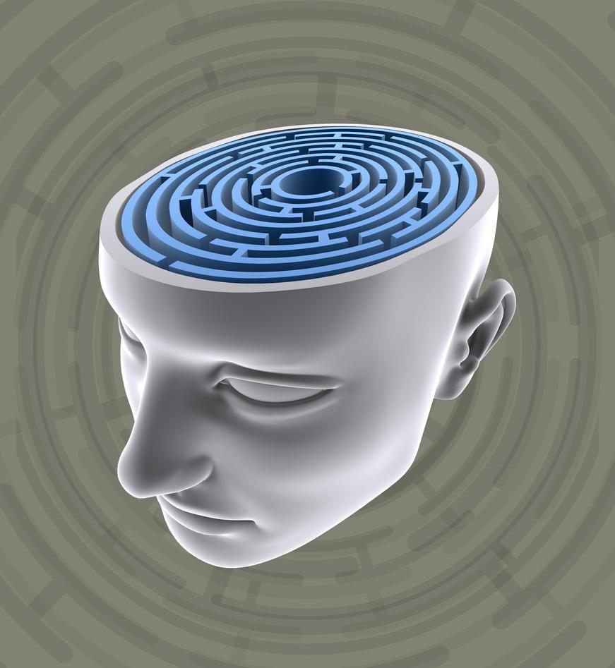 Tredimensjonalt hodeskulptur hvor toppen er kuttet av og hvor en ser en labyrint.