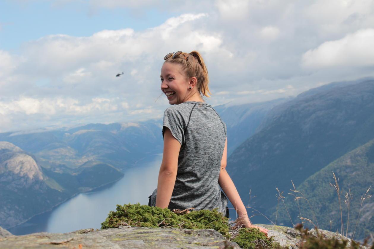 "Franzi at the top of the mountain ""Preikestolen"""