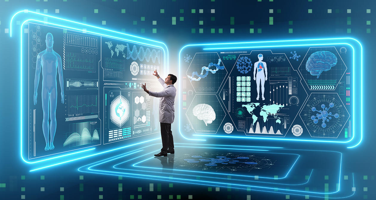 photo of futuristic scene with doctor looking at digital graphic patient data.