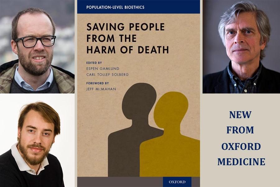 """Bokomslaget + bilder av redaktørene Espen Gamlund og Carl Tollef Solberg og av Jeff McMahan som har skrevet forordet. I tillegg står det også """"new from oxford medicine"""""""