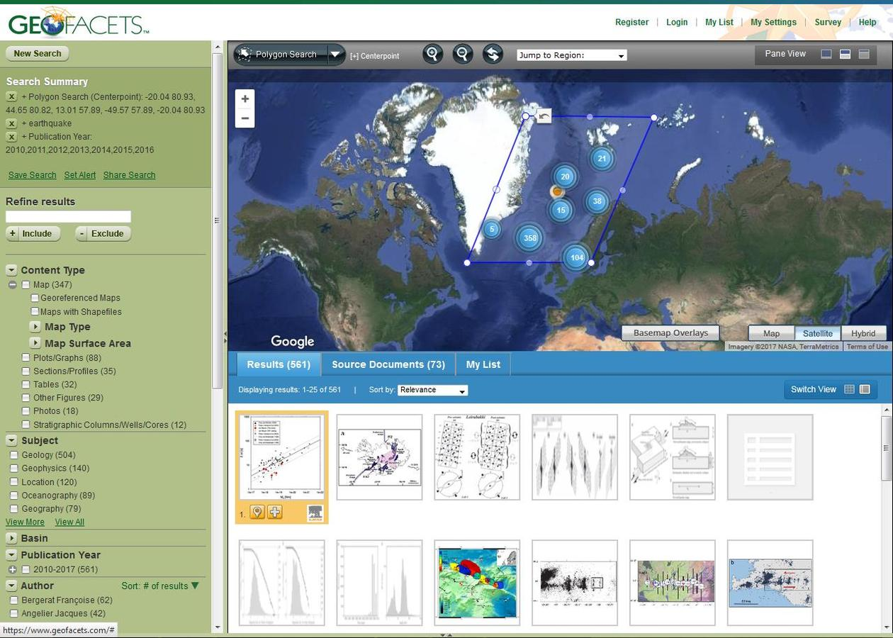 Image showing the Geofacets interface