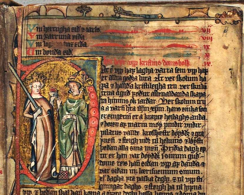 Bilde av en illustrert side i lovhåndskriftet Codex Hardenbergianus