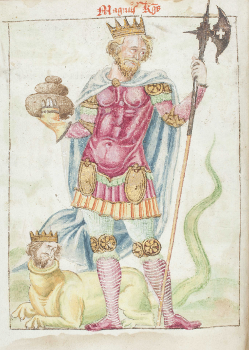 Manuscript illustration from GKS 3274 4to, containing Jónsbók. The illustration depicts and idealised Magnús the Lawmender.