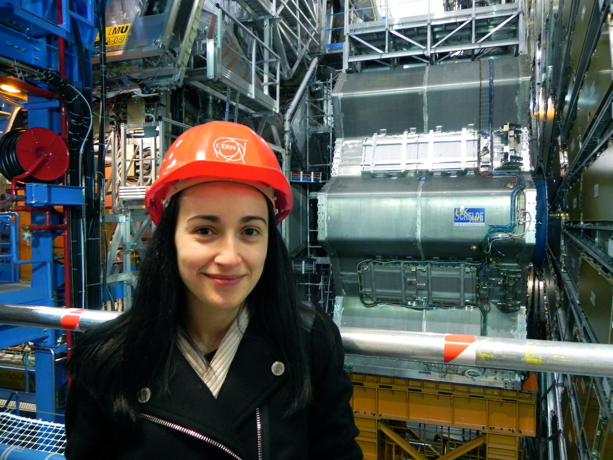 Angela Gligoraova in front of ATLAS detector