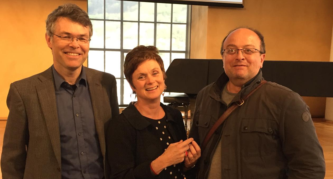 Social scientists Ståle Knudsen, Siri Gloppen and Hakan G. Sicakkan (from left) at the launch of the University of Bergen focus area, Global Challenges, in the University Aula on 15 May 2017.