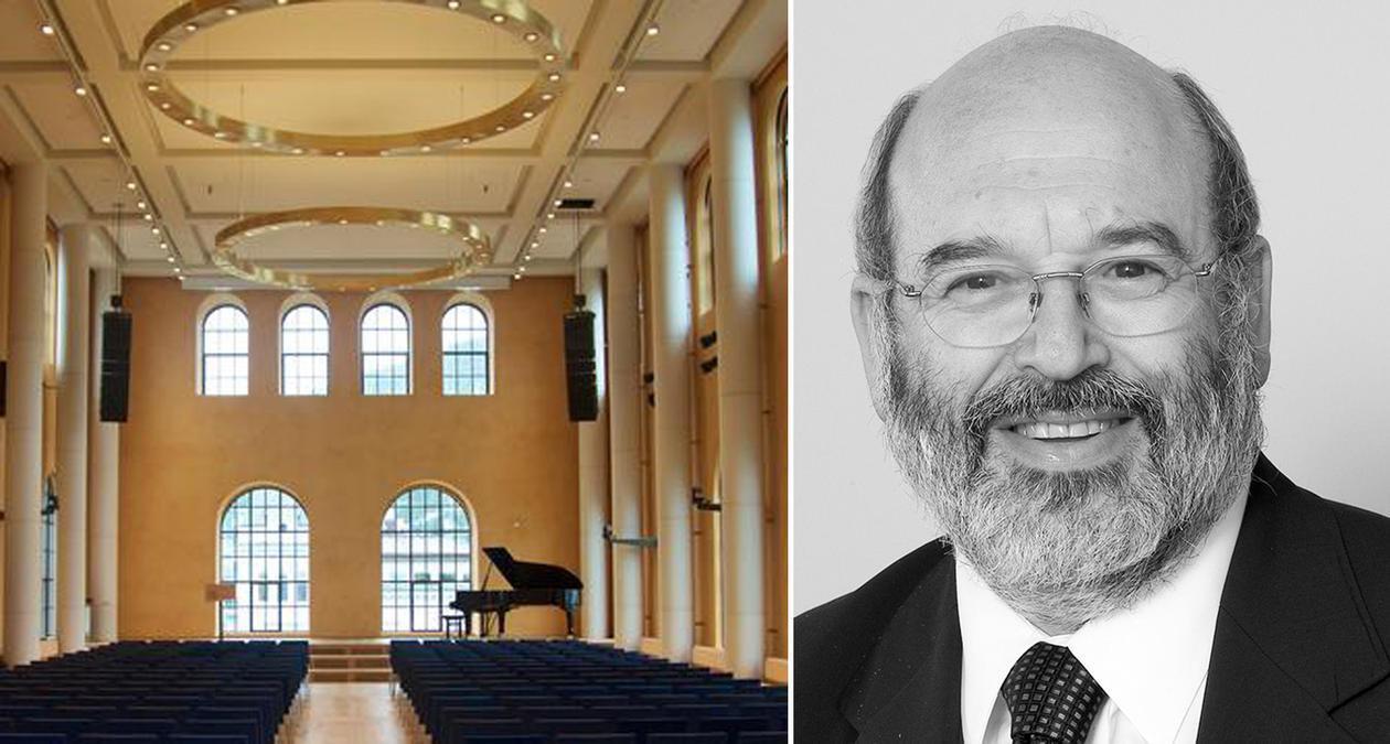 Bilde av aulaen og Peter Gluckman