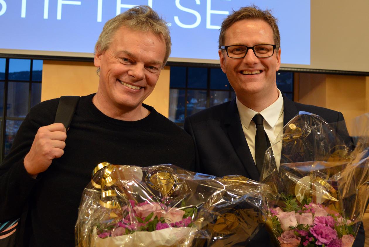 Nobelprisvinnar Edvard Moser med Håvard Haarstad.