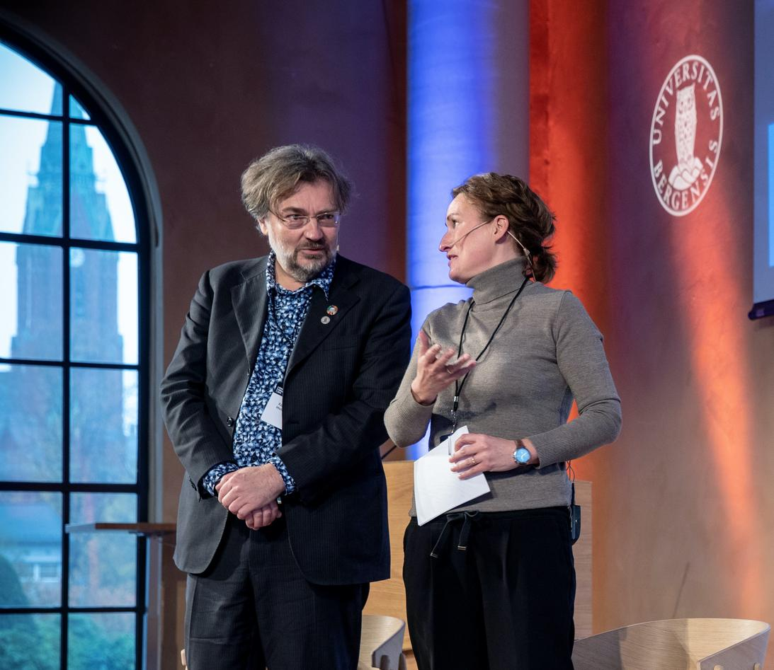 Professors and marine scientists Sigrid Eskeland Schütz and Edvard Hviding on stage at the inaugural Ocean Sustainability Bergen Conference in October 2019.