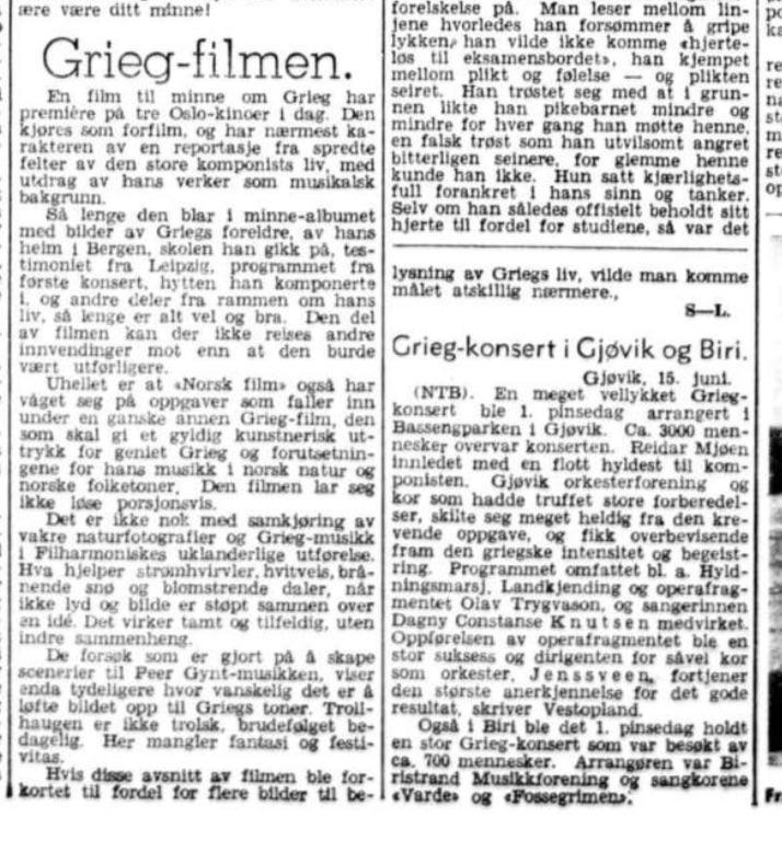 Grieg-filmen, Aftenposten aftenutgave 15 06 1943