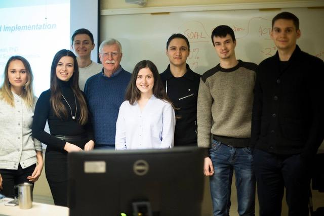 Group of ukrainian students with David Wheat