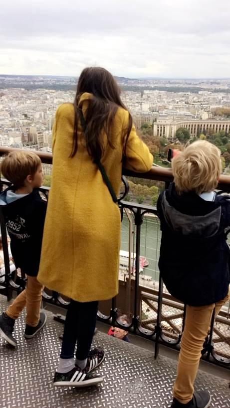 Agnete and her two boys looking at the view from the eiffel tower.