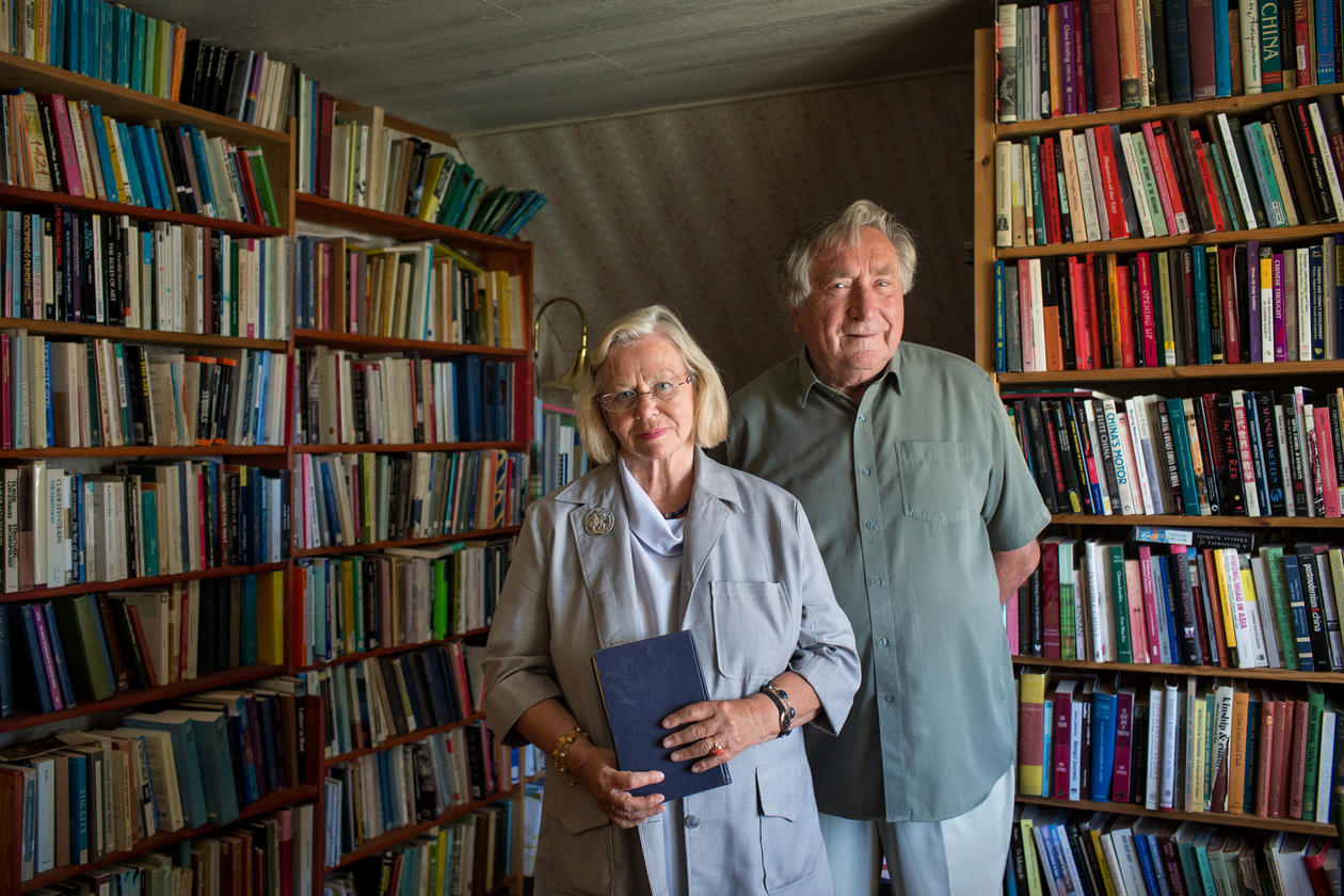 University of Bergen Professors Randi and Gunnar Håland photographed at their home south of Bergen city centre.