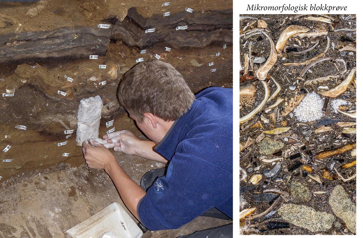 Haalnd tar ut sedimentprøve i Blombos