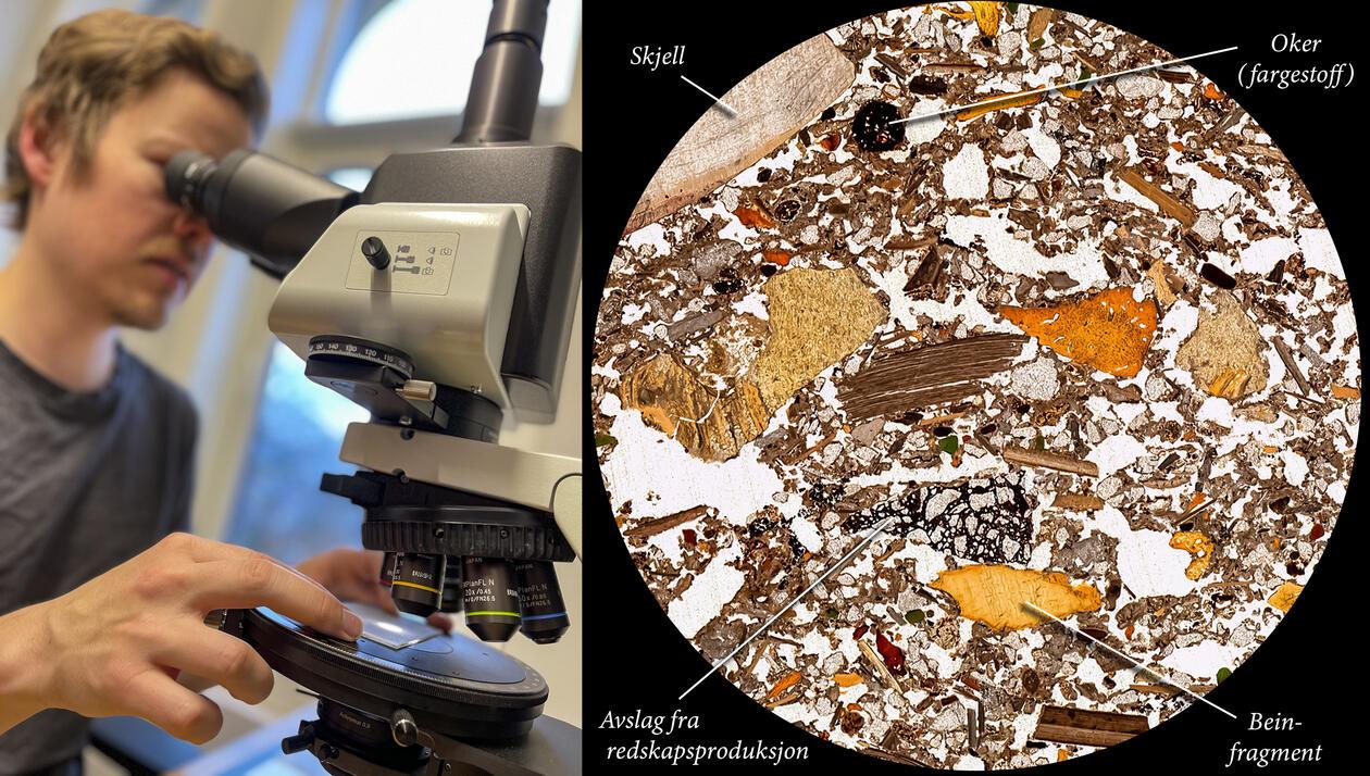 Magnus Haalnd studerer ørsmå fragmenter fra kulturlagene i Blombos