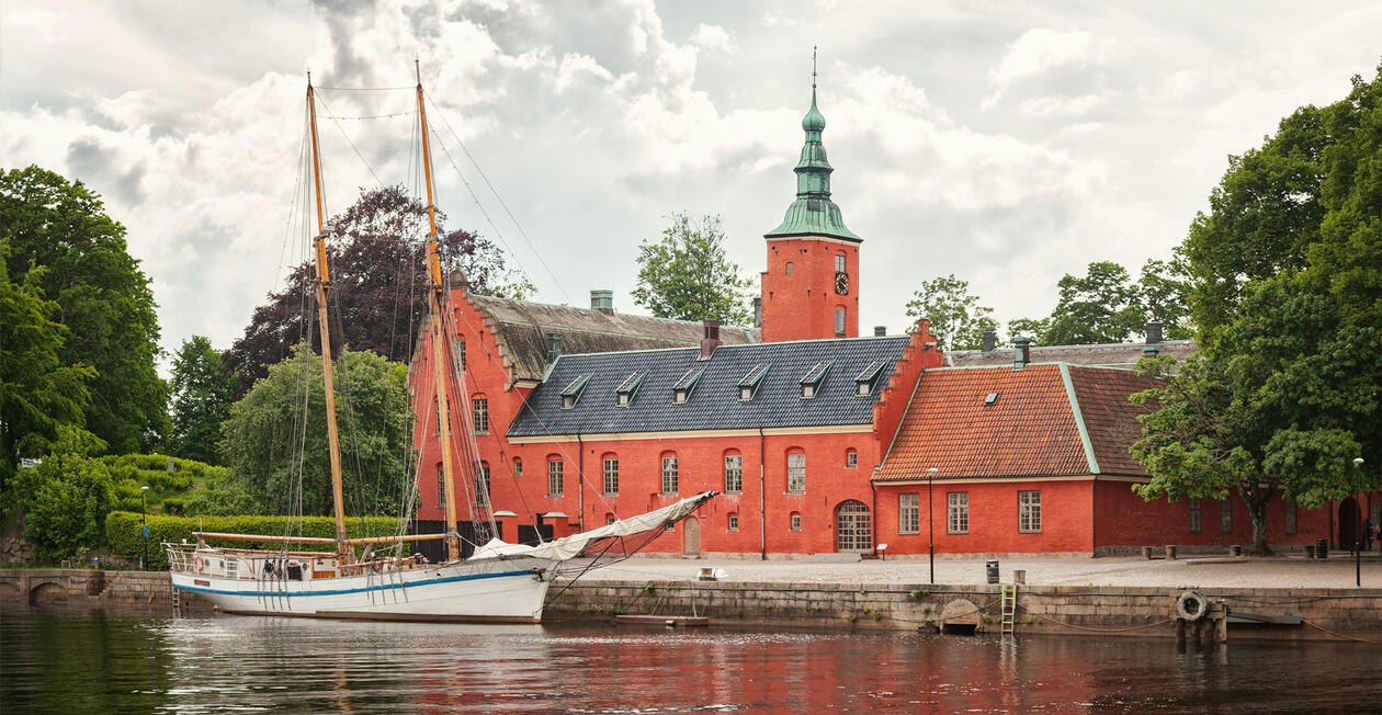 Halmstad castle and old wooden ship