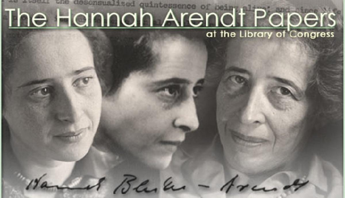 Bilde av Arendt som viser henne som ung, middelaldrende og eldre