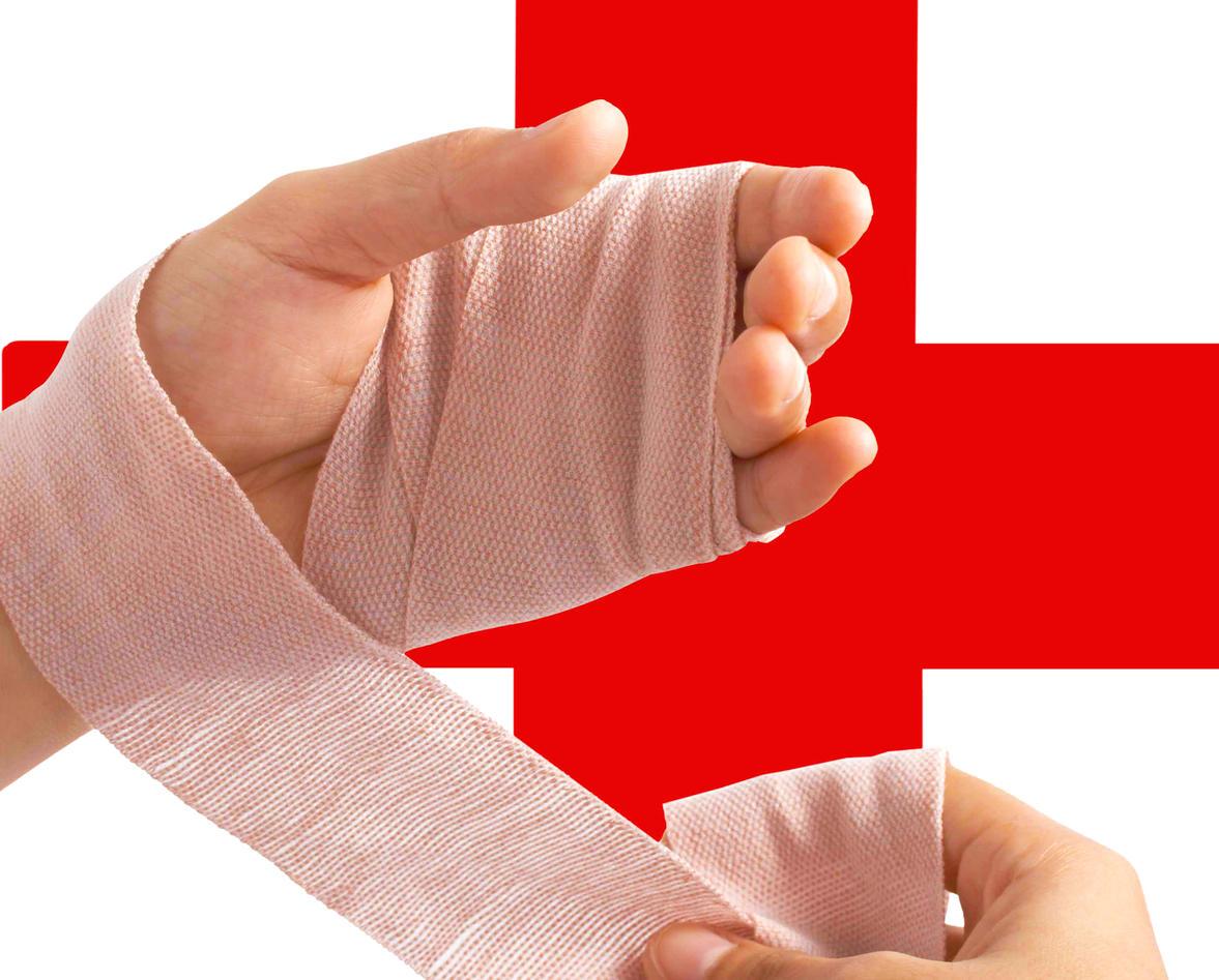 photo of bandaged hand