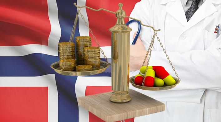 Collage av det norske flagg, en lege og en vektskål med penger i den ene skålen og medisiner i den andre.