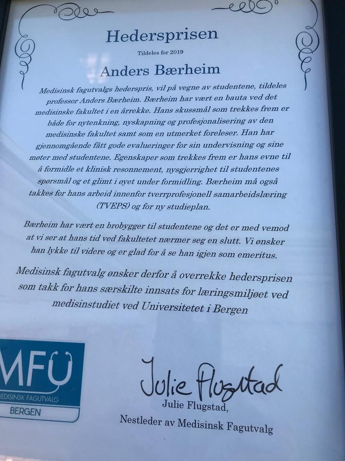 Diplom, Hederspris til Anders Bærheim
