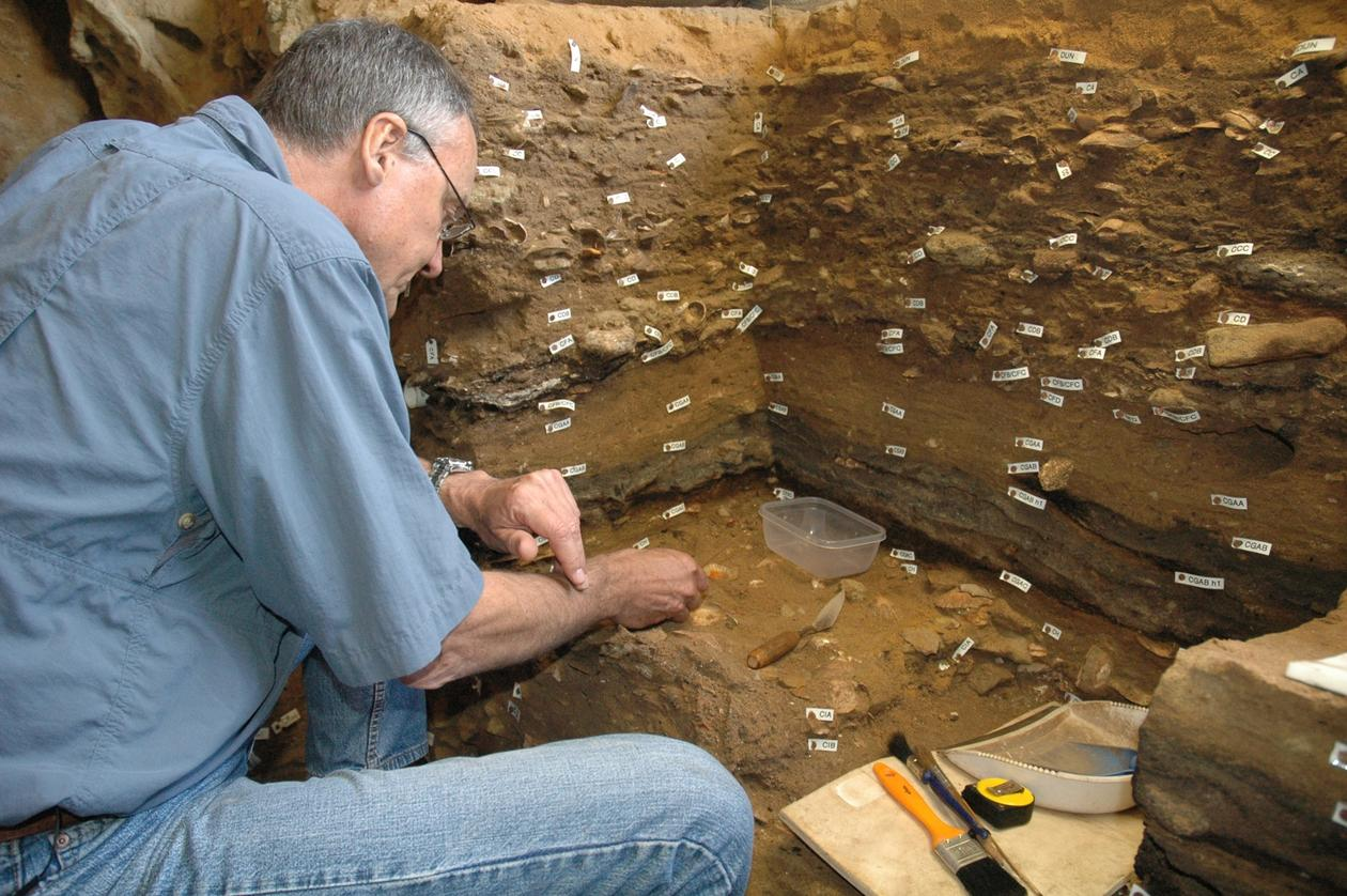 Professor Christopher Henshilwood of the University of Bergen (UiB) and leader of the TRACSYMBOLS research project photographed in Blombos Cave on South Africa's Southern Cape coastline.
