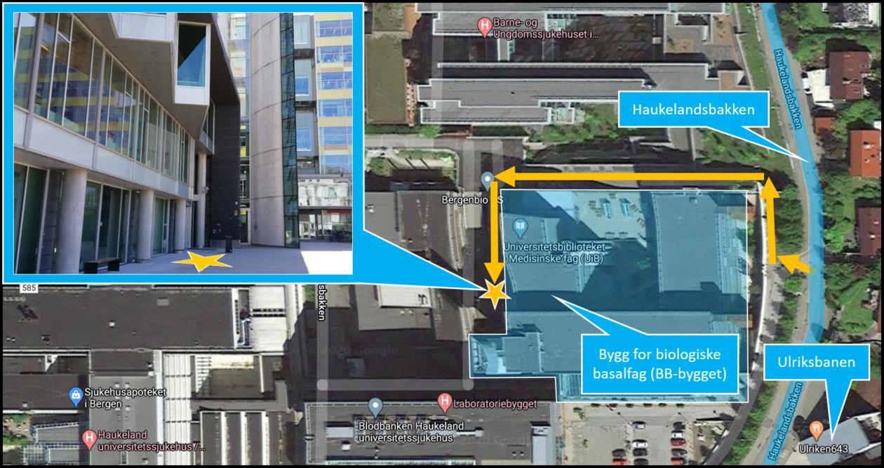 Luftbilde av BB-bygget som viser tilgang til hovedinngang via trappene fra Haukelandsbakken