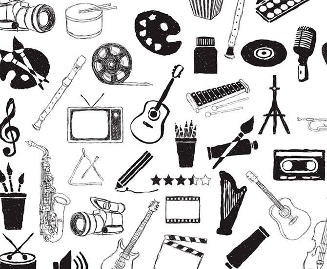 Tegning i sort/hvitt av mange ulike instrumenter, både for musikk og for kunsternisk utforming