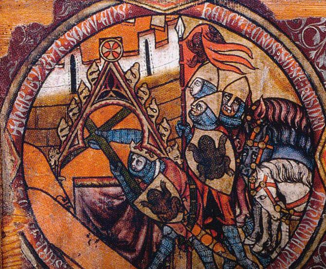 nærbilde av element på tavle fra norrøn tid