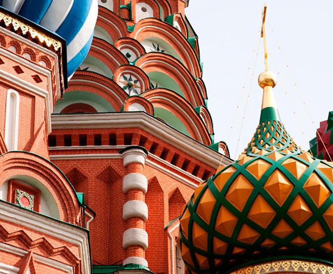fargerike kupler fra Kreml
