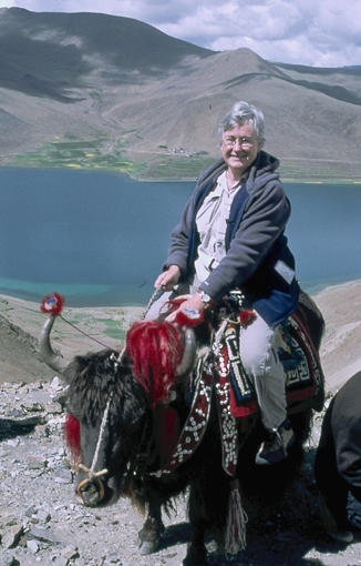 Hilary riding a yak in Tibet