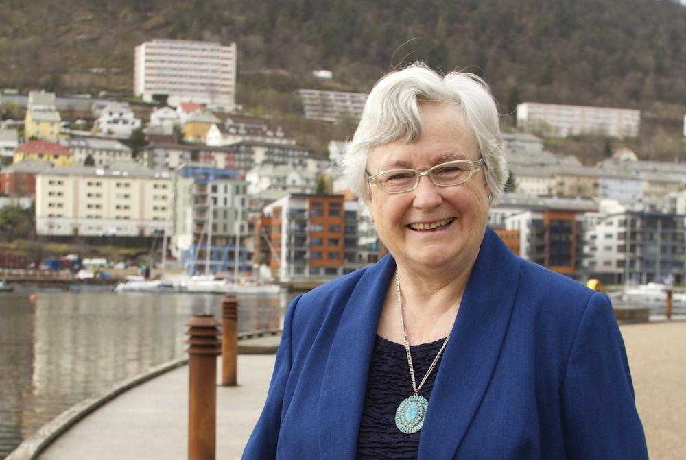 Hilary Birks outside the Biology building, University of Bergen