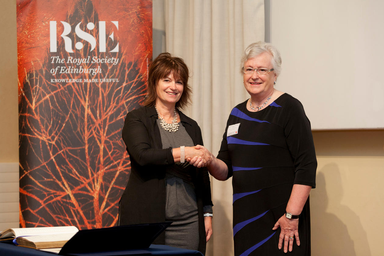 Hilary Birks (on the right) being welcomed to the Royal Society of Edinburgh by its President Dame Anne Glover (on the left)