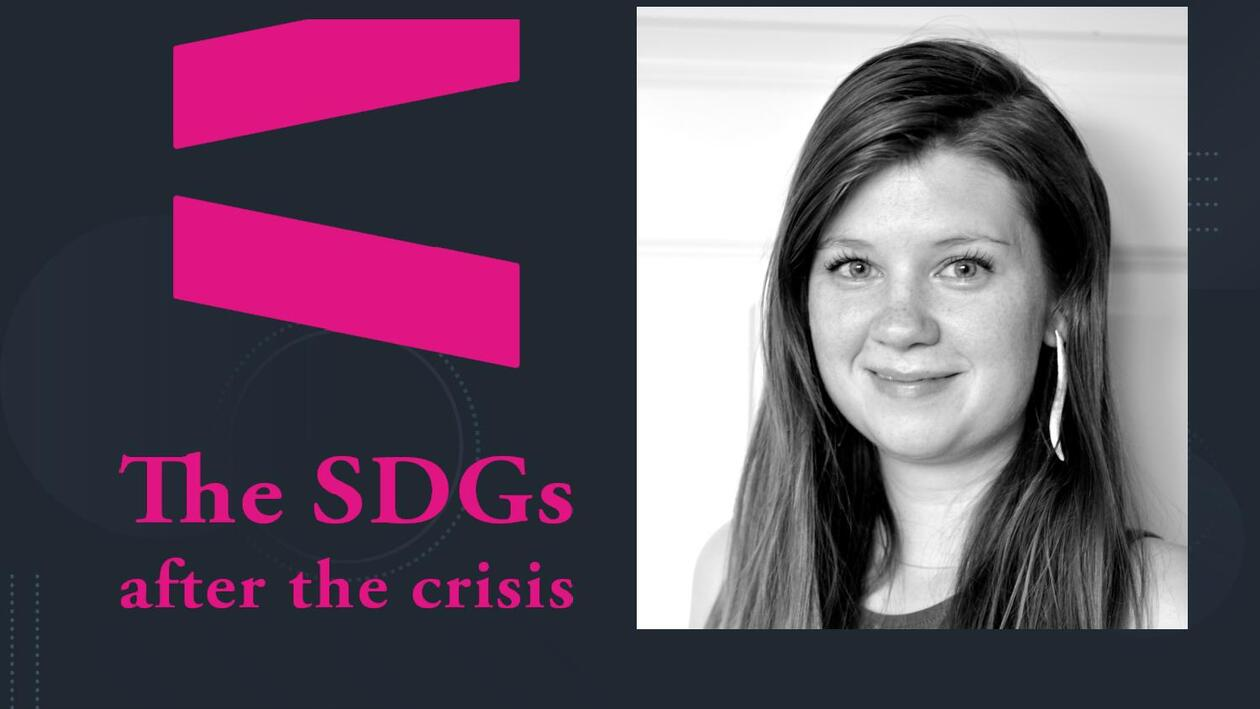 Associate Professor Sofie Høgestøl from the University of Oslo with the logo for the 2021 SDG Conference Bergen.