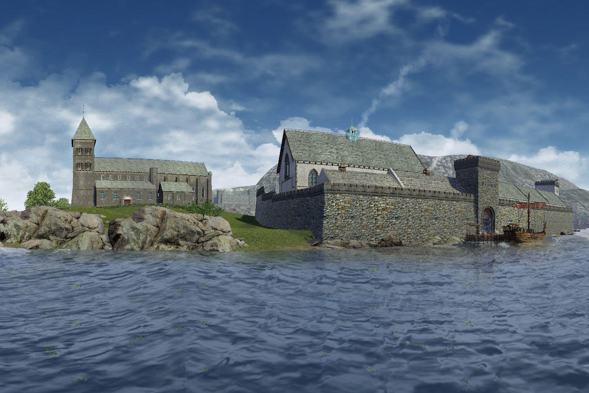Kongsgården Holmen sett fra sjøen