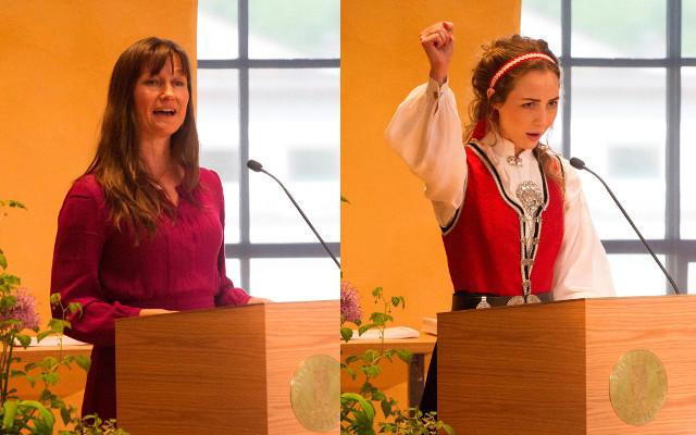 To bilder, et av hovedtaleren  og et av studenttaler r bak talerstolen.