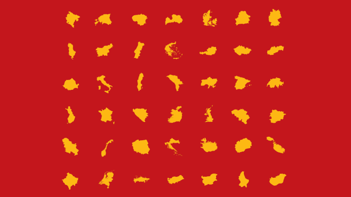 Graphic outlines of European countries in yellow on a red background, used to illustrate article about the Research Group The Borders of Europe.