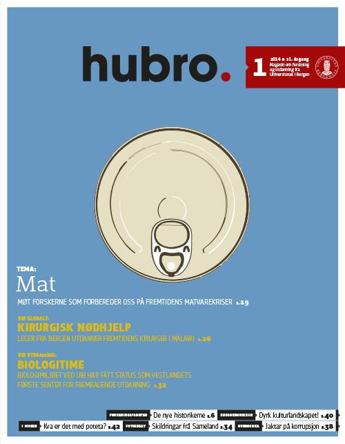 Forsiden på Hubro 01/2014, Universitetet i Bergens magasin for forskning og utdanning