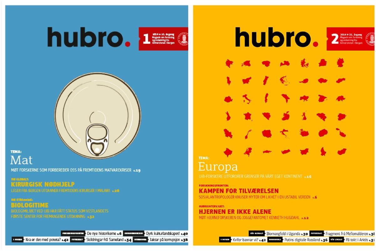 Forsidene til Hubro nummer 1 og 2, 2014
